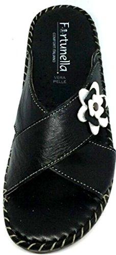 Donna Ciabatte Coccinella 14138 Nero Art Confort Linea Scalzati La Velcro Aperte Pelle OafwqCx