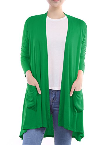 BH B.I.L.Y USA Women's Open Front Lightweight Jersey Classic Long Sleeve Cardigan