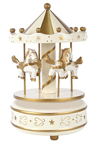 Carousel Music Box Wooden 4 Horses Rotating. White and Gold Color Playing Twinkle Twinkle Little Star