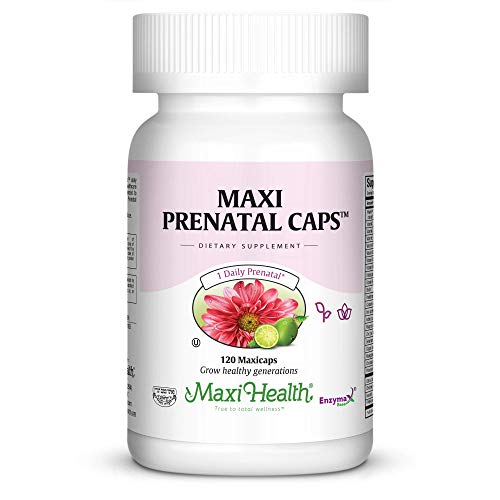 Maxi Health Prenatal Caps Multivitamins with Biotin and Iron One a Day, 120 Count
