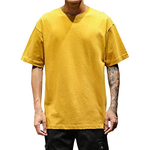(FONMA Mens Summer Casual Solid Color O-Neck Short Sleeve Large Size T-Shirt Top Blouse Yellow)