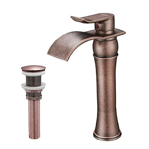 BWE Waterfall Single Handle Hole Lever Bathroom Sink Vessel Faucet Lavatory Faucet Antique Copper Commercial