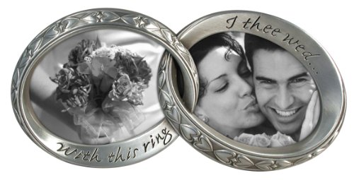 """Wedding Bands interlocking Duo picture frame-7 1/4"""" X 3 1/2"""" for 2-3/4"""" photos"""