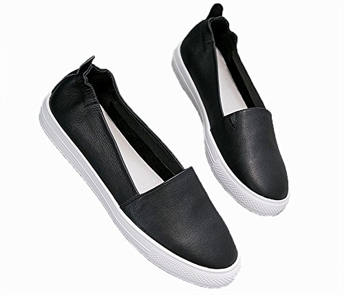 Un Polyvalent Mocassins Voyage Cuir Bouche 34 Printemps Confortable Chaussures Casual black Été Blanc en xie Profonde 38 Pied Cuir Peu Femme Petit OIwYdxd