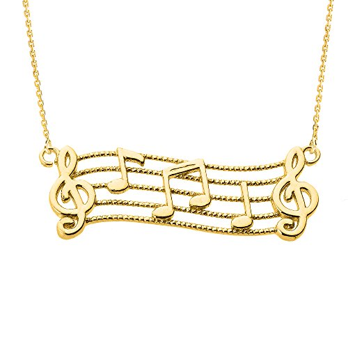 14k Gold Treble Clef Charm Musical Notes Pendant Necklace, - Treble Note Gold Clef 14k