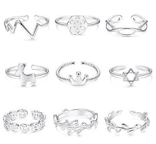 - FIBO STEEL 9 Pcs Open Toe Rings for Women Girls Branch Crown Snowflake Toe Ring Adjustable