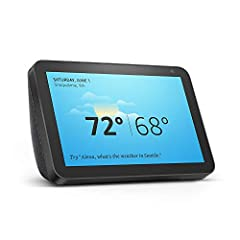"Echo Show 8 connects to Alexa to give you rich stereo sound with vivid visuals on an 8"" HD screen. See on-screen lyrics with Amazon Music. Set alarms and timers. Display your favorite photos."