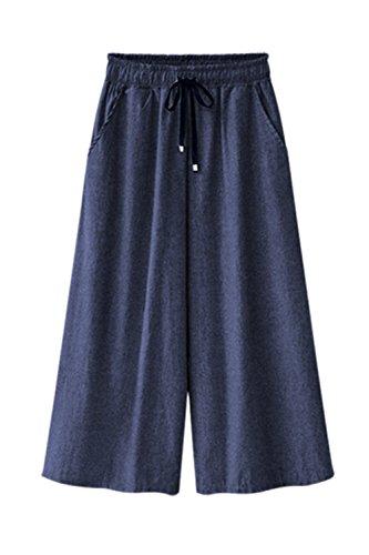 Cordoncino I Donne Una A Livello 2color Pantaloni Jeans Taglia Gamba Informale Zojuyozio Blu B0CIqwxd0