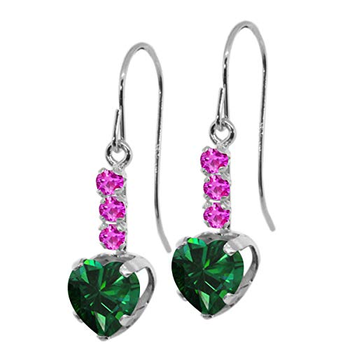 (Gem Stone King 1.66 Ct Heart Shape Green Nano Emerald Pink Sapphire 925 Silver Earrings)
