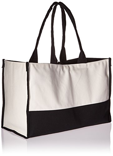 Classic First Canvas Tone Initial and Black Tote Bag White Two qwnAIC8zg