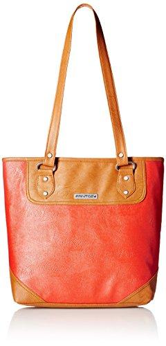 Fantosy Women's Handbag (Red and Tan) (FNB-456)