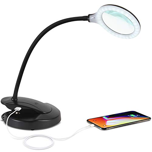 (Brightech - LED Magnifying Lamp with USB Charging Port - Lightview Pro 2-in-1 Lighted Glas Magnifier with Stand, Clamp - Dimmable, Bright Light for Reading, Crafts - 1.75x -)