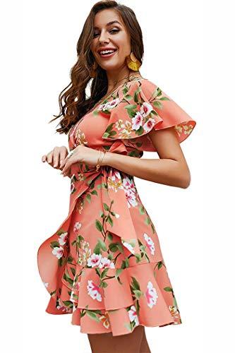 Shmily Girl Women's Dresses Summer Wrap V Neck Bohemian Floral Print Ruffle Swing A Line Beach Mini Dress (S, Pink Floral)