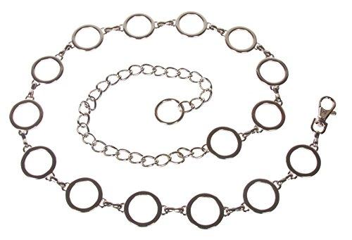 - Ladies Metal Circle Chain Belt, Silver | 42