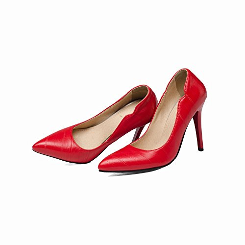 MissSaSa Damen simpel high heel geschlossen Pointed Toe Pumps Rot