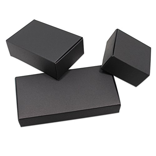 Xiaogongju 50Pcs Black Craft Kraft Paper Box Packaging Box Wedding Party Small Gift Candy Jewelry Package Boxes for Handmade Soap Storage -