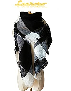 Women's Plaid Scarf Winter Oversized Scarves Tartan Shawl Wrap Blanket Scarf Warm Tassels Pashmina Poncho Scarf