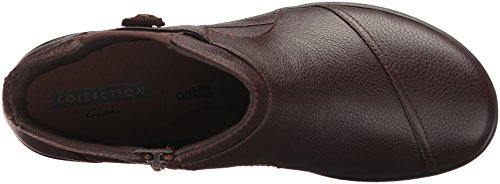 CLARKS Womens Cheyn Work Ankle Bootie, Dark Brown Leather, 9 M US