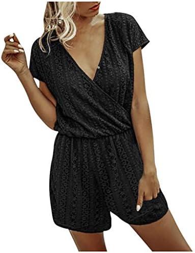 Eoeth Womens Short Sleeve Printing Jumpsuit Loungewear One Piece Casual Loose Elastic WaistPockets Romper Playsuit