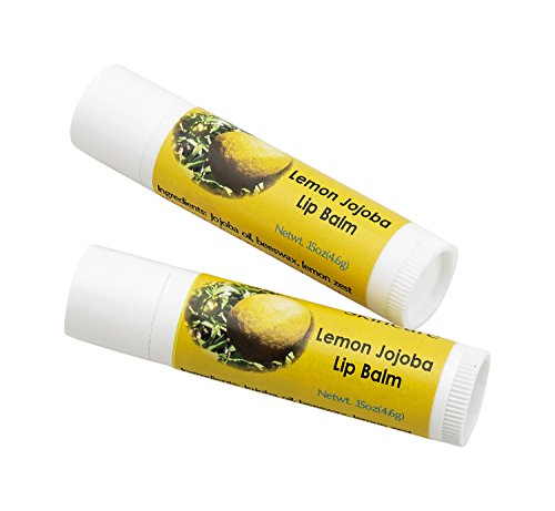 Jojoba Oil and Beeswax Lemon Lip Balm, all natural, over 70% cold pressed jojoba oil and mildly scented with Lemon Zest, 2 Lip balms (.15 oz/4.6 gm) 2 units - Lemon Oil Beeswax