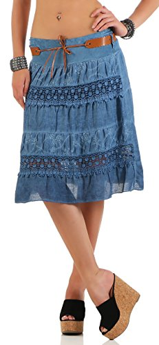 malito t jupe avec ceinture mini-jupe 16167 Femme Taille Unique Bleu Fonc