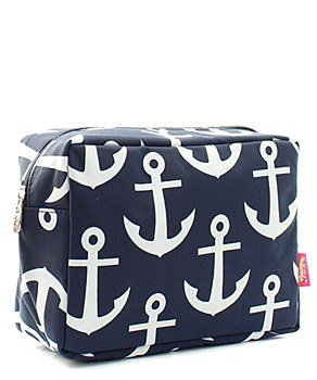 N.Gil Nautical Anchor Print Small Canvas Cosmetic Travel Bag