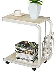 DlandHome Tavolino a Forma di U Multiuso per Letto o Divano a Rotelle con Cesto, Tavolino per Laptop per la Lettura/Colazione