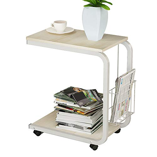 SogesPower 20 inches Laptop Desk End Table Sofa Table Movable Side Table with Storage Basket Computer Stand Desk, White Maple
