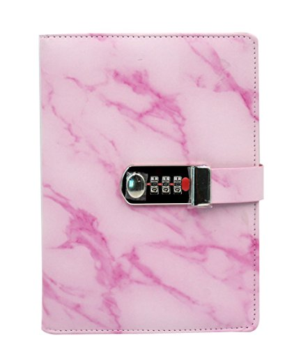 Eilova Marble Pattern PU Travel Journal Diary Personal Writing Notebooks Daily Notepad with Combination Lock(A5 Size,100 Sheets of Ruled Paper) by Eilova
