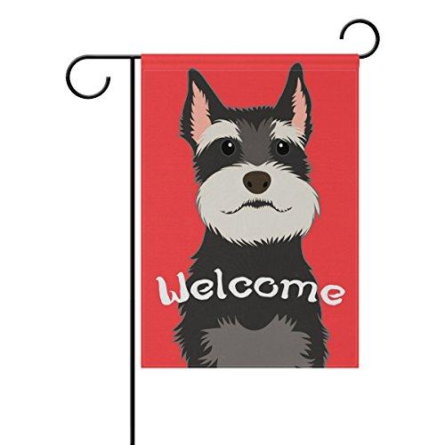 Schnauzer Garden Flag - My Daily Welcome Schnauzer Dog Decorative Double Sided Garden Flag 12 x 18 inch