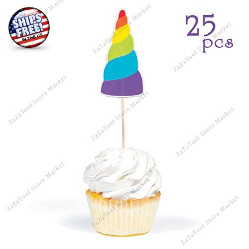 ZaZaTool - 25 Unicorn Cake Cupcake Toppers Magical Decor Fairytale Birthday Party Favors (Abby Cadabby Party City)