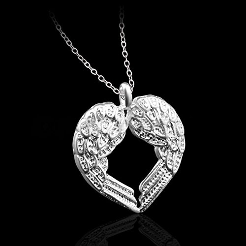 Owill Unisex Silver Color Diamond Angel Wing Heart Pendant Necklace (A, Silver)