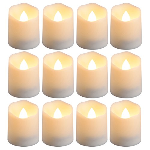 PChero Battery Operated Timer Candles, 12 pcs Flameless LED Tealight Candles for Birthday Wedding Party Home Decor, 200 Hours (Batteries Included), Warm White by PChero