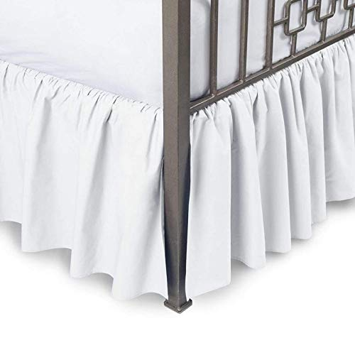Scalasheets 800 Thread Count 18 Inche Drop Length gathered Dust Ruffle bed skirt Queen White Solid 100% Egyptian Cotton