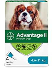 Advantage II Flea Treatment for Medium Dogs weighing 4.6 kg to 11 kg (10 lbs. to 24 lbs.) - 4 pack