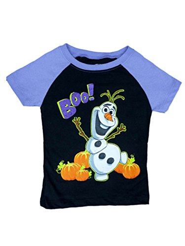 Disney Frozen Toddler Girls Black Olaf Boo! Halloween Shirt T-Shirt Tee 2T -