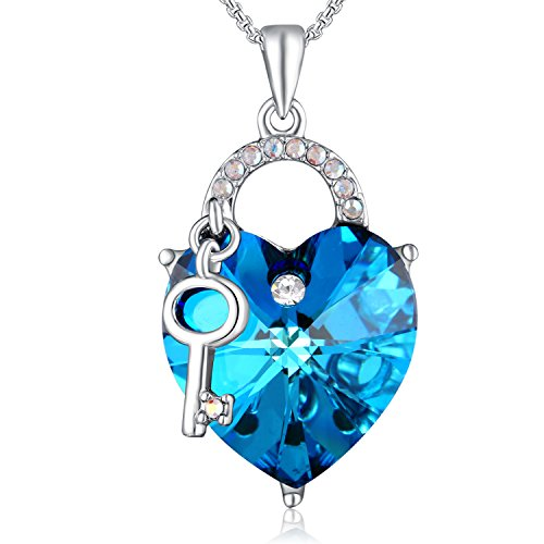 Crystal Key Necklace (PLATO H Lock Heart Necklace Lock and Key Heart Necklace with Swarovski Crystal Heart Key Necklace Ocean Blue Heart Neckalce For Mom)