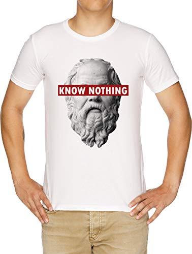 Humor Slogan shirt Funny Know Censored Nothing Philosophy Vendax Socrates T Bianco Uomo qOSWn4t4Uw
