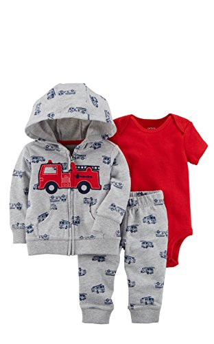 Carter's Baby Boys 3 Piece Cardigan Bodysuit and Pants Set, Firetruck, -