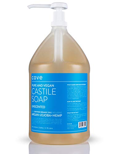Cove Castile Soap - Unscented 128 oz / 1 Gallon - Includes Pump - Organic Argan, Hemp, Jojoba Oils