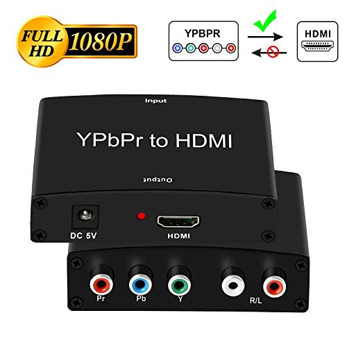 Component to HDMI Adapter, YPbPr to HDMI Coverter + R/L, NEWCARE Component 5RCA RGB to HDMI Converter Adapter, Supports 1080P Video Audio Converter Adapter for DVD PSP Xbox 360 to - Psp To Tv Adapter