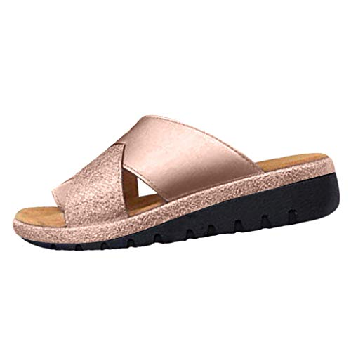 (Womens Summer Soft Thick Bottomed Wedge Shoes Ladies 2019 Outdoor Beach Clip Toe Cool Feel Retro Slippers Sandals Hot (Gold, US:7))