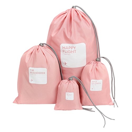[Official Shop]BXT Travel Essential Bags-in-Bag,Travel Storage Waterproof Nylon Drawstring Dry Bag Clothes Pack Shoe Pouch Stuff Bag Organisers Set of 4 Size (Pink)