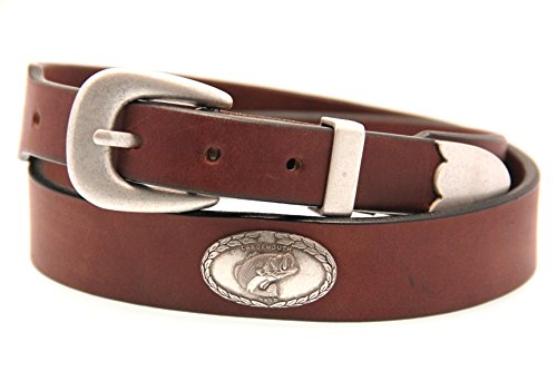 Mens 35mm Rich Brown Bridle Leather Belt With Large Mouth Bass Concho Size 34 (35 Mm Bridle)