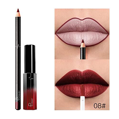 Lipstick, Longay Long Lasting Lipstick Waterproof Matte Liquid Gloss Lip Liner Cosmetics Set (H) ()