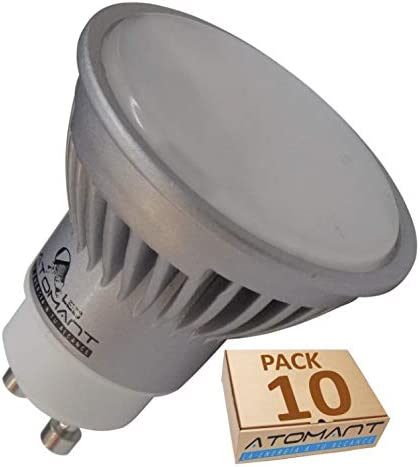 Pack 10x GU10 LED 7W potentisima. Halogeno LED 680 lumenes reales Recambio bombillas 60W (Blanco frio 6500k)