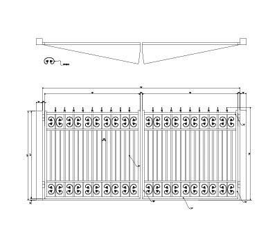 (America's Fence Store 6' Tall x 16' Opening Double Butterfly Ribbon Flat Top, Quad Flare Finials Gate)
