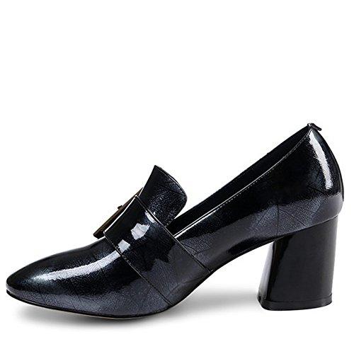 Nine Seven Cuero Moda Puntera Cuadrada Zapatos de Tacón Grueso con Hebilla para Mujer negro