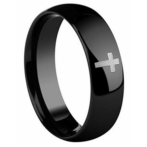 5mm S11 Wedding Bands Rings - PDAYWID Black Men's Tungsten Ring High Polished Full Arc Cross Tail Rings 5MM S11