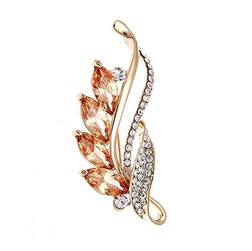 (ToomLight Rose Gold Brooch for Women Flower Leaf White Cubic Zirconia Wedding Bridal Pin Dress Brooch Scarves Shawl Clip Bag Ornament)